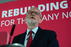 © Licensed to London News Pictures . 02/09/2019. Salford , UK. JEREMY CORBYN delivers his speech . Members of the shadow cabinet and regional devolved mayors attend a speech and Q&A by Labour Party leader Jeremy Corbyn at The Landing Media City in Salford . Photo credit: Joel Goodman/LNP