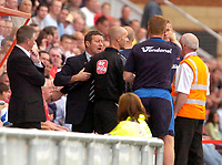 Photo: Ed Godden/Sportsbeat Images.<br /> Leyton Orient v Hartlepool United. Coca Cola League 1. 22/09/2007. Hartlepool Manager Danny Wilson (2nd left), disagrees with the Orient bench.