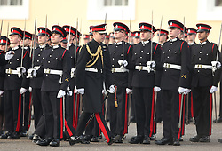 The Duke of Cambridge (centre) represents the Queen as the Reviewing Officer at The Sovereign's Parade at Royal Military Academy Sandhurst in Camberley.