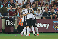 Filipe Teixeira of Astra Giurgiu celebrates with teammates after scoring his sides 1st goal to make it 0-1 on the night. UEFA Europa league, 1st play off round match, 2nd leg, West Ham Utd v Astra Giurgiu at the London Stadium, Queen Elizabeth Olympic Park in London on Thursday 25th August 2016.<br /> pic by John Patrick Fletcher, Andrew Orchard sports photography.
