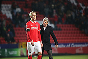 Charlton Head Coach Jose Riga with Charlton Athletic striker, Simon Makienok (9) during the Sky Bet Championship match between Charlton Athletic and Cardiff City at The Valley, London, England on 13 February 2016. Photo by Matthew Redman.