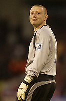 Photo: Aidan Ellis.<br /> Sheffield United v Manchester United. The Barclays Premiership. 18/11/2006.<br /> Sheffield keeper Paddy Kenny enjoys a joke with Man Utd fans about his eyebrow incident in Halifax