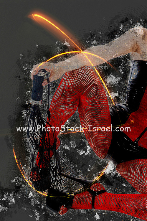 Digitally enhanced image of a Woman aged 30 in red and black latex. sitting on ground. view of legs and a hand holding a whip. Model Released