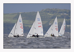 470 Class European Championships Largs - Day 3.Brighter conditions with more wind...Men Upwind, with SUI16, Yannick BRAUCHLI, Romuald HAUSSER, Segel Club Enge(SCE) and Club Nautique de Versoix(CNV)., GRE1, Antonis TSIMPOUKELIS, Pavlos KAGIALIS