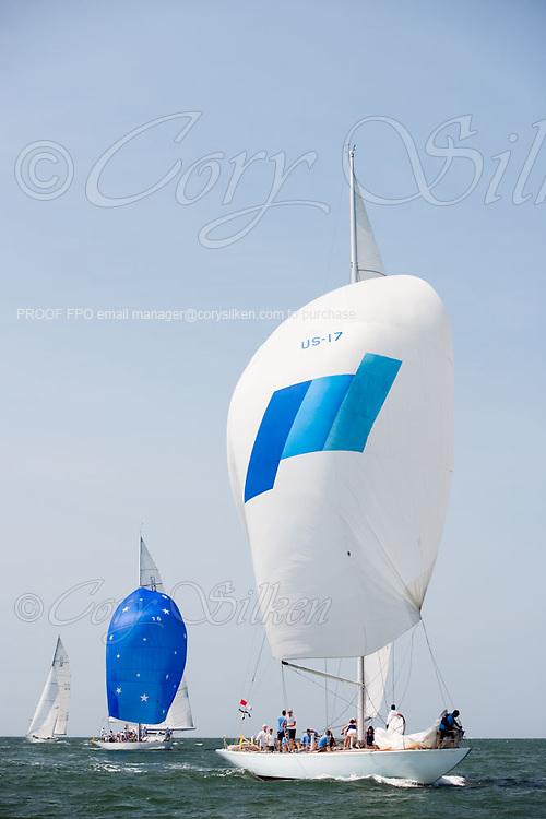Weatherly and Columbia sailing at the Nantucker 12 Metre Regatta.