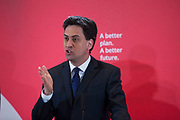 London, UK. Wednesday 29th April 2015. Labour Party Leader Ed Miliband speaks at a General Election 2015 campaign event on the Tory threat to family finances, entitled: The Tories' Secret Plan. Held at the Royal Institute of British Architects.