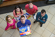 NO FEE PICTURES<br /> 11/2/16 Aoibhin Garrihy aka Sorcha, Roisin O'Neill, aka HonorLaurence Kinlan aka Ronan, Emmet Byrne as Traolach, Laurence Kinlan aka Ronan and Rory Nolan (in front)aka Ross at a photocall to anounce the return of Ross O'Carroll Kelly's Breaking Dad to the Gaiety Theatre. With record breaking sales of over 45,000 tickets, rave reviews and standing ovations every night Breaking Dad returns to the Gaiety for the final time for strictly two weeks from Monday March 14th until Saturday March 26th 2016. Picture: Arthur Carron