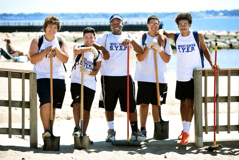 Photo by Mara Lavitt<br /> West Haven, CT<br /> July 27, 2016<br /> Workforce Alliance Summer Youth Employment Program participants at work at the West Haven town beach. From left: Alphonse Casanova, Dennis DeJesus, AJ Williams, Brenden Ospina, Tyrese Thomas.