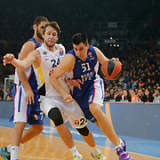 Anadolu Efes's Milko Bjelica (R) and Fenerbahce Ulker's Jan Vesely (L) during their Turkish Airlines Euroleague Basketball Top 16 Round 7 match Anadolu Efes between Fenerbahce Ulker at Abdi ipekci arena in Istanbul, Turkey, Friday 13 February, 2015. Photo by Aykut AKICI/TURKPIX