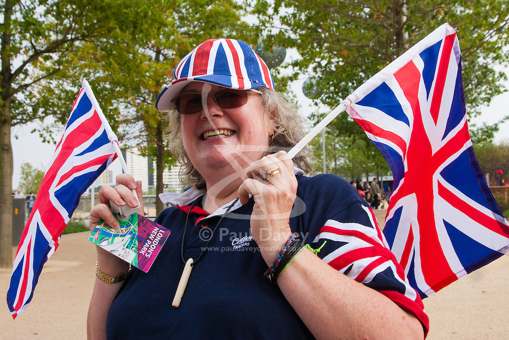 Queen Elizabeth Olympic Park, London, September 10th 2014. Patriotic Tig Hyett heads for the opening ceremony for the Invictus Games, where over 400 competitors from 13 nations will take part in an international sporting event for wounded, injured and sick Servicemen and women.