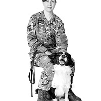 Amy Hoyland, Army - Royal Army Veterinary Private, Dog Handler, Wilson is a Vehicle Search Dog,  Veterans Portrait Project UK Sennelager Germany