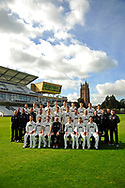County Championship team photo - (Back Row) Roelof van der Merwe, Dom Bess, Ryan Davies, Ben Green, Adam Hose, Paul van Meekeren, Michael Leask, George Bartlett, Josh Davey, Johann Myburgh, (Middle Row) Chris Rogers (Batting Coach), Gary Metcalfe (Physiotherapist), Steve Snell (2nd XI Coach and Academy Director), Jason Kerr (Bowling and Fielding Coach), Steven Davies, Max Waller, Jamie Overton, Craig Overton, Tim Groenewald, Jack Leach, Darren Veness (Head of Strength and Conditioning), Jamie Thorpe (Lead Physiotherapist, Andrew Griffiths (Performance Analyst), Paul Tweddle (Fielding Coach), (Front Row) Lewis Gregory, Peter Trego, Marcus Trescothic, Matt Maynard (Director of Cricket), Tom Abell (Captain), James Hildreth and Jim Allenby during the Somerset County Cricket Club PhotoCall 2017 at the Cooper Associates County Ground, Taunton, United Kingdom on 5 April 2017. Photo by Graham Hunt.