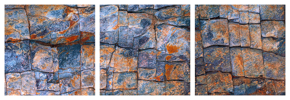 A close-up view of rocks covered with rust. Stitched from 10 verticals