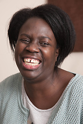 Portrait of woman laughing.