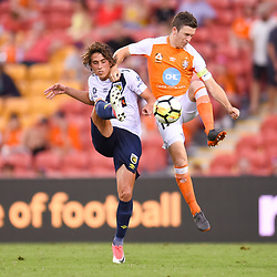 BRISBANE, AUSTRALIA - MARCH 31: Lachlan Wales of the Mariners and Matt McKay of the Roar in action during the Round 25 Hyundai A-League match between Brisbane Roar and Central Coast Mariners on March 31, 2018 in Brisbane, Australia. (Photo by Patrick Kearney / Brisbane Roar FC)