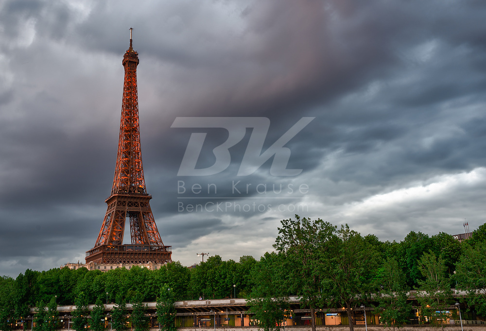 Dusk sets on the Eiffel Tower in Paris, France on May 18, 2012.