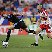 Josh Williams, (left), NYCFC and Mike Grella, New York Red Bulls,  in action during the New York Red Bulls Vs NYCFC, MLS regular season match at Red Bull Arena, Harrison, New Jersey. USA. 10th May 2015. Photo Tim Clayton