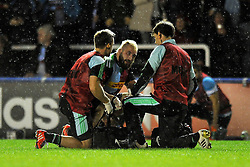 Harlequins captain Joe Marler is treated for an injury - Photo mandatory by-line: Patrick Khachfe/JMP - Mobile: 07966 386802 17/10/2014 - SPORT - RUGBY UNION - London - Twickenham Stoop - Harlequins v Castres Olympique - European Rugby Champions Cup