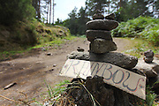 Rock sculptures welcoming the visitors in the path from the closest village. European Rainbow Gathering of 2011 in Portugal