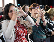 Photo by Mara Lavitt -- Special to the Hartford Courant<br /> October 4, 2015 <br /> Hartford Fashion Week, last day, Union Station, Hartford. Six designers showed their fashions. Attendees Katharine Ortiz of West Hartford, left, and Patricia Baker of Cheshire, right.