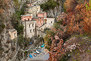 A view of the Fiordo of Furore in Furore, Italy. Furore, located on the Amalfi coast, expands from sea level, where there is the hamlet of Fiordo di Furore, and a little civil parish partly belonging to Praiano named Marina di Praia, up to Agerola (550 meters above sea level).