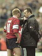 Watford. Great Britain. <br /> Right, Gloucester Coach, talks to Simon MAANNIX after the game.<br /> Heineken Cup Semi Final; Gloucester Rugby vs Leicester Tigers. Vicarage Road Stadium, Hertfordshire.England.  <br /> <br /> [Mandatory Credit, Peter Spurrier/ Intersport Images].