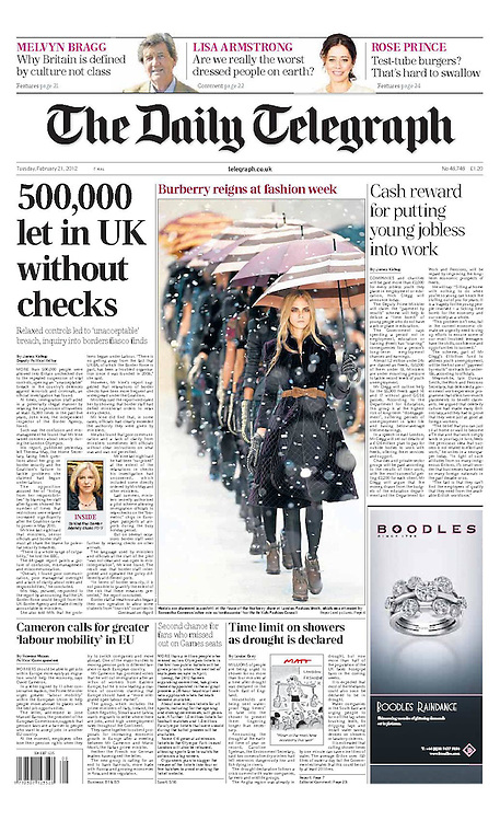Front page of the Telegraph on 21st February 2012 from Burberry catwalk