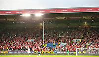 Aberdeen fans watch on during the second half<br /> <br /> Photographer Alex Dodd/CameraSport<br /> <br /> UEFA Europa League - Europa League Qualifying Round 2 2nd Leg - Burnley v Aberdeen - Thursday 2nd August 2018 - Turf Moor - Burnley<br />  <br /> World Copyright © 2018 CameraSport. All rights reserved. 43 Linden Ave. Countesthorpe. Leicester. England. LE8 5PG - Tel: +44 (0) 116 277 4147 - admin@camerasport.com - www.camerasport.com