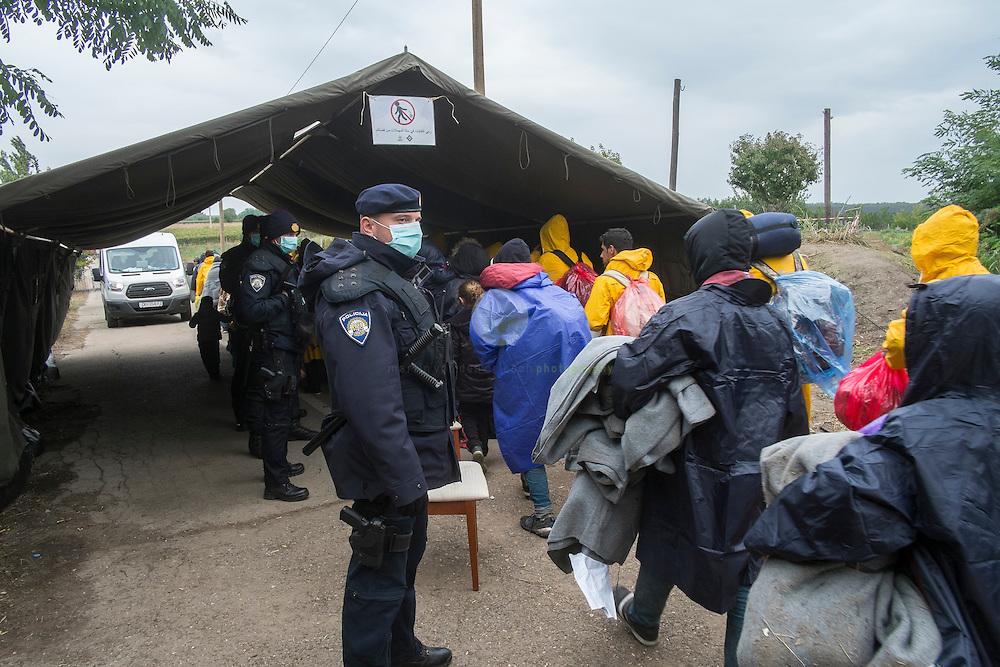 SERBIEN, Grenzstadt Berkasovo, Stadtgebiet von Šid. 08.10.2015 / Fluechtlinge an der serbisch-kroatischen Grenze:  Kroatischen Polizeibeamten lassen an der provisorische Fluechtlinge passieren. Obwohl auf serbischen Gebiet, ist hier keine serbische Polizei zu sehen. Der Grenzuebertritt erfolgt zu Fuss und in Gruppen zu etwa 50 Personen.