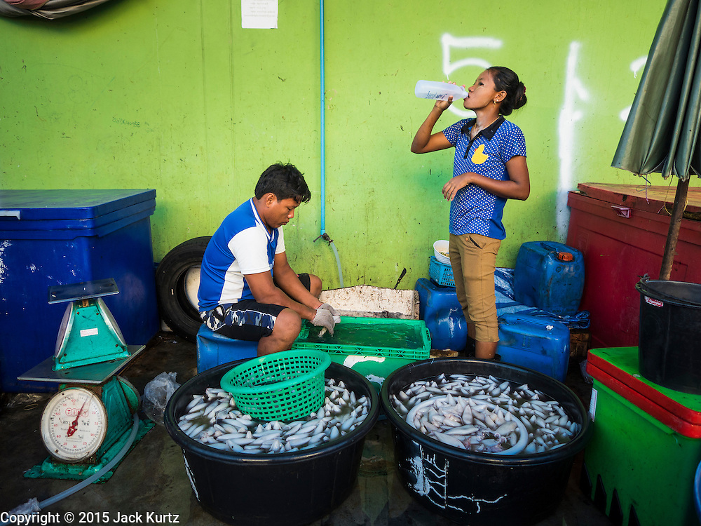 """11 JUNE 2015 - MAHACHAI, SAMUT SAKHON, THAILAND: A Burmese migrant laborer at the Talay Thai market in Mahachai cleans squid. Labor activists say there are about 200,000 migrant workers from Myanmar (Burma) employed in the fishing and seafood industry in Mahachai, a fishing port about an hour southwest of Bangkok. Since 2014, Thailand has been a Tier 3 country on the US Department of State Trafficking in Persons Report (TIPS). Tier 3 is the worst ranking, being a Tier 3 country on the list can lead to sanctions. Tier 3 countries are """"Countries whose governments do not fully comply with the minimum standards and are not making significant efforts to do so."""" After being placed on the Tier 3 list, the Thai government cracked down on human trafficking and has taken steps to improve its ranking on the list. The 2015 TIPS report should be released in about two weeks. Thailand is hoping that its efforts will get it removed from Tier 3 status and promoted to Tier 2 status.        PHOTO BY JACK KURTZ"""
