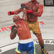 HOLLYWOOD, FL - JUNE 27: Thiago Alves punches Ulysses Diaz during the Bare Knuckle Fighting Championships at the Seminole Hard Rock & Casino on June 27, 2021 in Hollywood, Florida. (Photo by Alex Menendez/Getty Images) *** Local Caption *** Thiago Alves; Ulysses Diaz