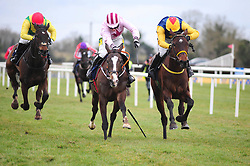 Pat's Pick ridden by Nina Carberry (right) goes on to win the Tattersalls Ireland George Mernagh Memorial Sales Bumper during Ryan Air Gold Cup Day of the 2018 Easter Festival at Fairyhouse Racecourse, Ratoath, Co. Meath.