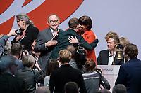 06 DEC 2019, BERLIN/GERMANY:<br /> Norbert Walter-Borjans (R), SPD Parteivorsitzender, Kevin Kuehnert (M), Juso Vorsitzender, und Saskia Esken (L), MdB, SPD Parteivorsitzende, Gratulation, nach der Wahl der Parteivorsitzenden, SPD Bundesprateitag, CityCube<br /> IMAGE: 20191206-01-090<br /> KEYYWORDS: Party Congress, Parteitag, klatschen, applaudieren, Applaus