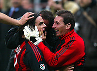 Milano 22/3/2003<br />Milan-Juventus 2-1<br />Cristian Abbiati celebratres Filippo Inzaghi after the goal of 2-1