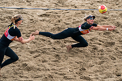 Sanne Keizer, Madelein Meppelink in action. The Final Day of the DELA NK Beach volleyball for men and women will be played in The Hague Beach Stadium on the beach of Scheveningen on 23 July 2020 in Zaandam.