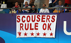 Liverpool fans display a banner reading 'Scousers rule ok' prior to the UEFA Champions League Final at the NSK Olimpiyskiy Stadium, Kiev.