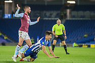 Peter Gwargis (Brighton) falls on to the pitch during the EFL Cup match between Brighton and Hove Albion and Aston Villa at the American Express Community Stadium, Brighton and Hove, England on 25 September 2019.
