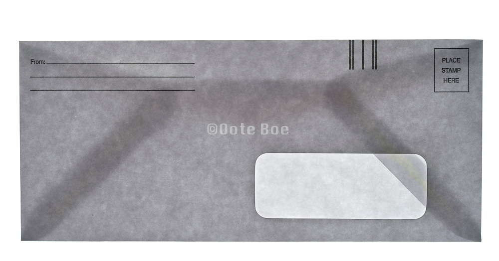 a provided by sender return mailing envelope with one address window front view closed
