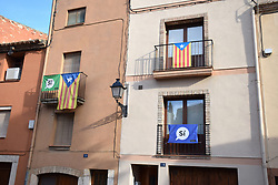 Catalonia, Spain Sep 2017. Montblanc. On 1 October Catalans will go to the polls to vote in a referendum on whether to secede from Spain and form an independent republic however Madrid says the referendum is unconstitutional. Catalonian flags & 'si' signs proliferate throughout the region.