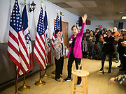 16 DECEMBER 2019 - KEOKUK, IOWA: Senator ELIZABETH WARREN enters a campaign event in Keokuk, IA. About 100 people attended the town hall. Warren is campaigning in southeastern Iowa this weekend to support her effort to be the Democratic nominee for the US presidential race in 2020. This was Warren's 185th town hall, and 88th event in Iowa. Iowa traditionally hosts the first presidential selection event of the campaign season. The Iowa caucuses are Feb. 3, 2020.          PHOTO BY JACK KURTZ