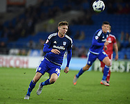 Joe Mason of Cardiff city in action. Skybet football league championship match, Cardiff city v Middlesbrough at the Cardiff city Stadium in Cardiff, South Wales  on Tuesday 20th October 2015.<br /> pic by  Andrew Orchard, Andrew Orchard sports photography.