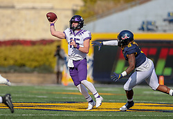 Nov 14, 2020; Morgantown, West Virginia, USA; TCU Horned Frogs quarterback Max Duggan (15) throws a pass during the first quarter against the West Virginia Mountaineers at Mountaineer Field at Milan Puskar Stadium. Mandatory Credit: Ben Queen-USA TODAY Sports
