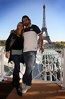 """Photo: Paul Thomas/Sportsbeat Images.<br />South Africa Reception at Rugby Town. 21/10/2007.<br /><br />South African lock and """"Man of the Match"""" Victor Matfield poses in front of the Effiel Tower with his wife."""