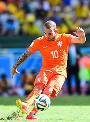 29.06.2014, Castelao, Fortaleza, BRA, FIFA WM, Niederlande vs Mexico, Achtelfinale, im Bild Wesley Sneijder (Niederlande) // during last sixteen match between Netherlands and Mexico of the FIFA Worldcup Brazil 2014 at the Castelao in Fortaleza, Brazil on 2014/06/29. EXPA Pictures © 2014, PhotoCredit: EXPA/ fotogloria/ Best Photo Agency<br /> <br /> *****ATTENTION - for AUT, FRA, POL, SLO, CRO, SRB, BIH, MAZ only*****