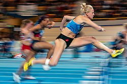 Anouk Vetter in action on 60 meter hurdles during the Dutch Indoor Athletics Championship on February 23, 2020 in Omnisport De Voorwaarts, Apeldoorn
