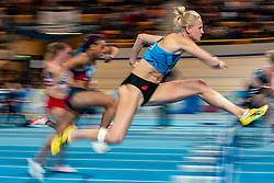 Anouk Vetter in action on 60 meter hurdles during the Dutch Indoor Athletics Championship on February 23, 2020 in Omnisport De Voorwaarts, Apeldoorn