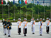 08 JUNE 2018 - SEOUL, SOUTH KOREA: A South Korean military honor guard performs at the War Memorial of Korea in Seoul, South Korea. With the near constant threat of invasion from North Korea, many South Koreans take great pride in the ability of their armed forces. Some observers believe there is a possibility that a peace agreement between South and North Korea could be signed following the Trump/Kim summit in Singapore. The War Memorial and museum opened in 1994 on the former site of the army headquarters to exhibit and memorialize the military history of Korea. When it opened in 1994 it was the largest building of its kind in the world. The museum features displays about the Korean War and many static displays of military equipment.    PHOTO BY JACK KURTZ