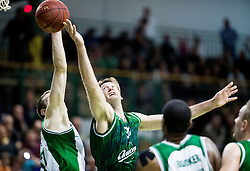 Miralem Halilovic of Krka vs Goran Jagodnik of Union Olimpija during basketball match between KK Krka and KK Union Olimpija in Round #7 of Telemach League for Slovenian National Champion 2014/15 on April 18, 2015 in Dvorana Leona Stuklja, Novo mesto, Slovenia. Photo by Vid Ponikvar / Sportida