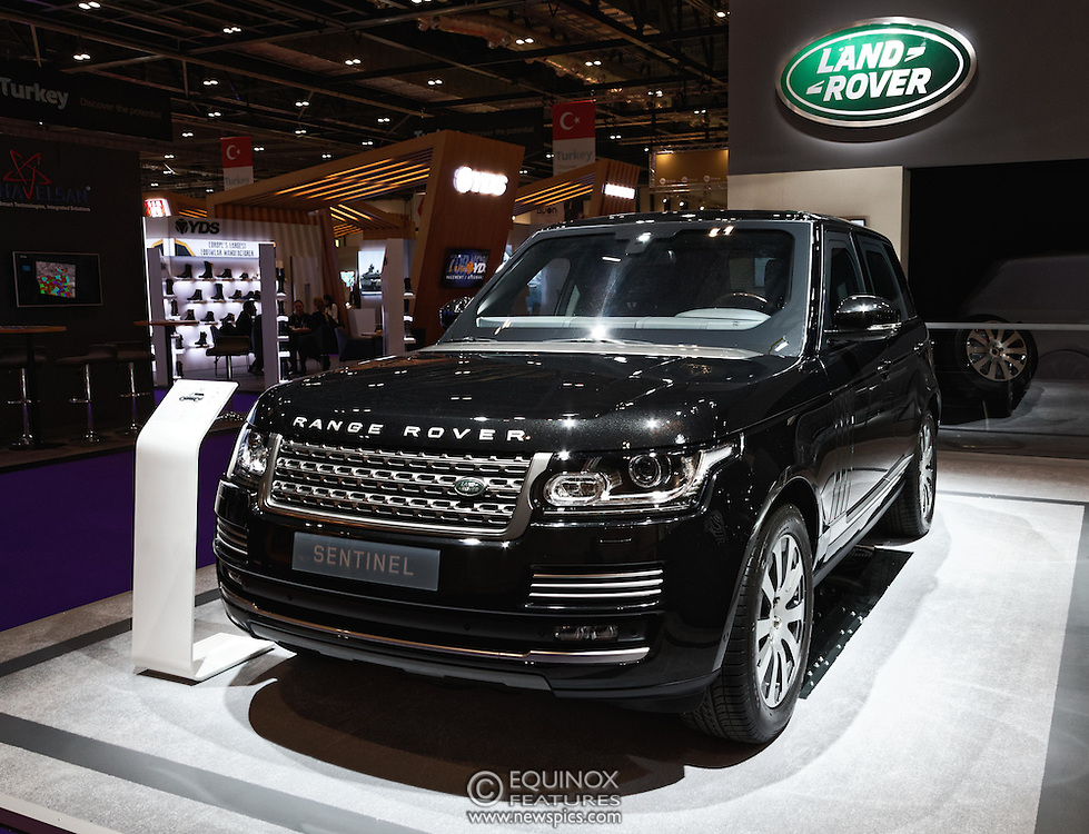 London, United Kingdom - 18 September 2015<br /> Land Rover display their new armoured vehicles, the £300,000 Range Rover Sentinel and the £160,000 Land Rover Discovery Sentinel which is set to be the new standard for UK government vehicle protection, at the defence and security exhibition DSEI at ExCeL, Woolwich, London, England, UK.<br /> (photo by: EQUINOXFEATURES.COM)<br /> <br /> Picture Data:<br /> Photographer: Equinox Features<br /> Copyright: ©2015 Equinox Licensing Ltd. +448700 780000<br /> Contact: Equinox Features<br /> Date Taken: 20150918<br /> Time Taken: 14142622<br /> www.newspics.com