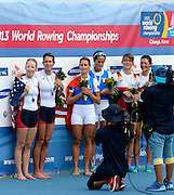 Chungju, South Korea.  Lightweight women's double sculls medals, Middle Gold medalist.  ITA LW2X. Bow. Laura MILANI and Elisabetta SANCASSANI, left Silver medalist, USALW2X. Kristin HEDSTROM and  Kathleen BERTKO. right Bronze medalist. GER LW2X.  Lena MUELLER and Anja NOSKE. 2013 FISA World Rowing Championships, Tangeum Lake International Regatta Course.16:16:40  Saturday  31/08/2013 [Mandatory Credit. Peter Spurrier/Intersport Images]